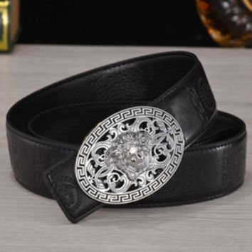 Versace 2018 trendy men and women smooth buckle jeans belt F0789-1 Silver