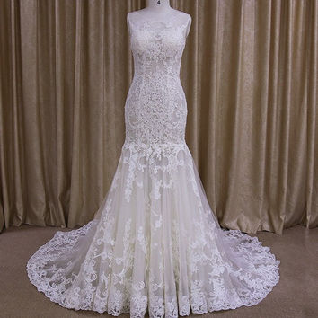 Shop lace fit and flare wedding dress on wanelo for Fit n flare lace wedding dress