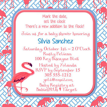 Baby Shower Invite -Pink Flamingos 5x5 -1 Sided