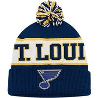 Reebok St. Louis Blues Faceoff Cuffed Pom Knit Hat | Total Hockey