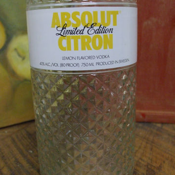 20 Ounce Pure Soy Candle in Reclaimed Absolut Citron Glimmer Limited Edition Liquor Bottle - Your Choice of Scent