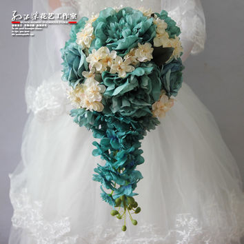 Real Touch Tiffany Waterfall Wedding Flowers Bridal Bouquets Bouquet De Mariage Hand Holding Flowers