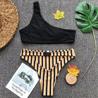 Striped Bikini Set One Shoulder Cut Brazilian Bottoms Swim Suit Monokini Summer Beachwear Swimsuit Bathing Suit Women Swimwear