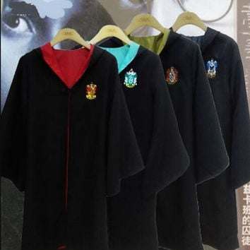 New 2016 Harry Potter Robe Gryffindor Cosplay Costume Kids Adult Harry Potter Robe Cloak Halloween Costumes For Kids