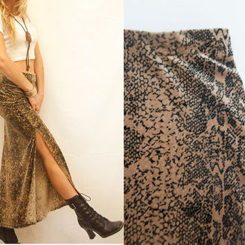 90s Velvet Snakeskin Slit Skirt - Size XS Small Medium | High Waisted Long Gypsy Witchy Rocker Animal Print Skirt Boho Maxi | Stevie Nicks