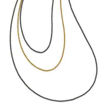 Leslies Sterling Silver Ruthenium and Gold-plated 3 Strand Necklace