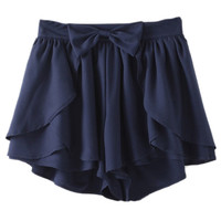 ROMWE Asymmetric Bowknot Layered Flouncing Navy Shorts
