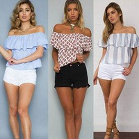Summer Fashion Women  Blous Short Sleeve Shirt Casual