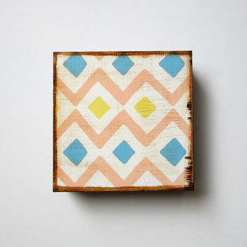 Modern Wall Decor l Art Block l Tribal Diamond Southwest Geometric 5x5 wood block blue gray pink yellow tribal pastel redtilestudio