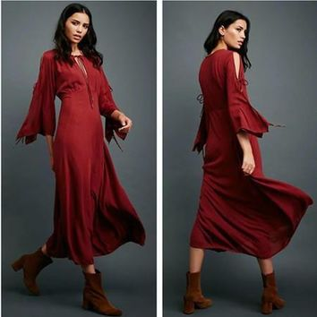 a08b83aaba Free People Fashion Solid Color Retro Hollow Strappy Long Sleeve