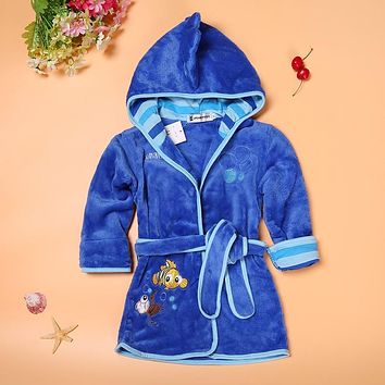Kids Cartoon Pajamas Robe Coats Clothes, Baby Home-wear and Boys girls Nightwear Clothes in Animal Cartoon Design