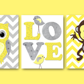 Kids Wall Art Owl Nursery Monkey Nursery Baby Nursery Decor Baby Girl Nursery Kids Art Baby Room Decor Nursery Print set of 3 Yellow