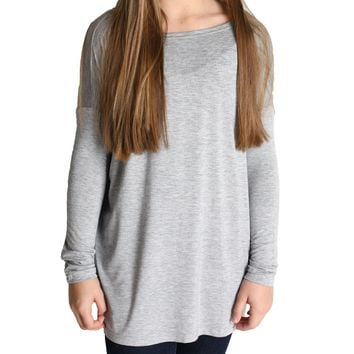 Heather Grey Piko Kids Long Sleeve Top