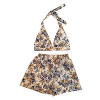 Blue Rose Garden Two Piece Bralet Halterneck Top + High Waisted Shorts Co-Ord Summer Festival Party Daytime Flower Floral Womens Clothing