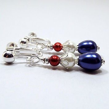 Clip on Earrings, Red White and Blue, Glass Beaded Small Drop Earrings, Patriotic Jewelry, 4th of July, Silver Plated, United States USA