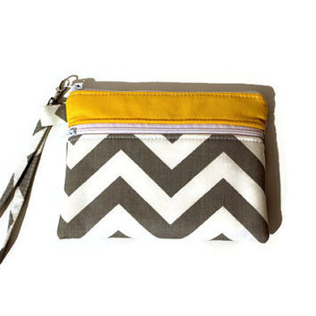 Gray chevron wristlet, double zipper bag,  padded phone pouch, gadget case, cell phone wristlet, bridesmaid pouch in gray white and yellow.