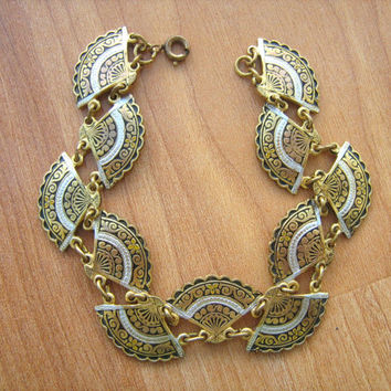 Damascene fan bracelet vintage size 6