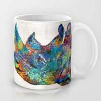 Rhino Rhinoceros Art - Looking Up - By Sharon Cummings Mug by Sharon Cummings