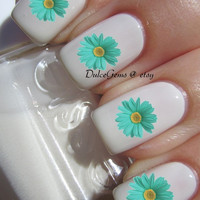 Tiffany Blue Flower Daisy Nail Decals