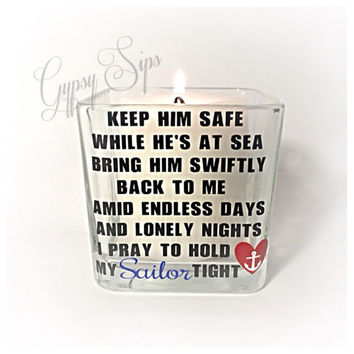 Navy Wife - Navy Girlfriend - Navy Love // Prayer Candle Holder