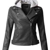 LE3NO Womens Edgy Moto Biker Faux Leather Jacket with Detachable Fleece Hoodie