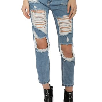 Brooklyn Karma Knee Cut Off Distressed Jeans