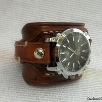 Leather Cuff Watch, Wrist Watch, Men's watch, Bracelet Watch, Watch Cuff, Middle Brown