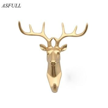 ASFULL color black/white/gold animal head hook resin craft key/cap/clothes claw 3D animal Mural decorative hook ornament hanger