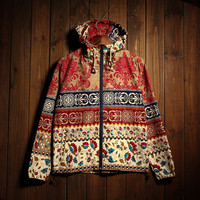 Men's Floral Print Vintage Lightweight Hooded Jackets