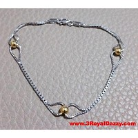 Trendsetting 14k Yellow Gold Layer on 925 Sterling Silver Tear Drop Bracelet
