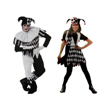 Halloween Couple Love Cosplay Clothes Clown Men Women Adult Costumes Circus Stage Droll Cosplay Clothing for Male Female Cos