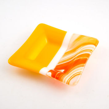 Yellow and Orange Fused Glass Dish, Jewelry Holder, Decorative Bowl, Bedroom Decor, Dresser Tray, Coin Dish, Unique Gifts for Men