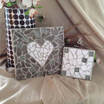 Handmade mosaic trivet set, serving piece, dinnerware, kitchen decor, gift set, housewarming gift, platter rest, spoon rest, rustic mosaics