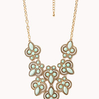 FOREVER 21 Heirloom Faux Stone Necklace Mint/Gold One