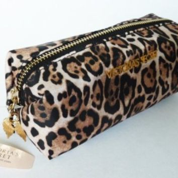 Victoria's Secret Cosmetic Bag / Makeup Bag Pencil Case Leopard Animal Print