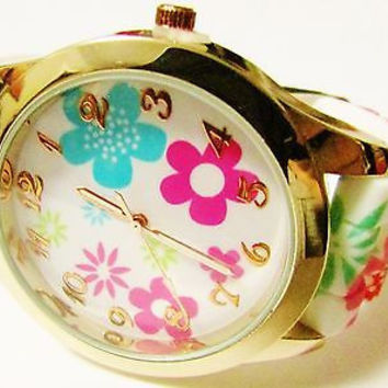 Flower Print Watch Gold and Floral Women's accented Silicone