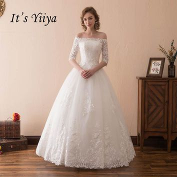 It's YiiYa White Off Collar Half Sleeves Lace Wedding Dress Floor Length Bride Wedding Gown Vestidos De Novia Casamento HPS005