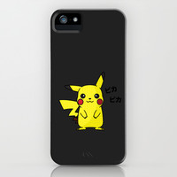 Pikachu Pop Art - Black iPhone & iPod Case by Cedric S Touati