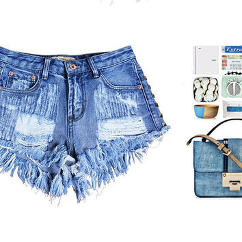 2016 Women's Fashion Brand Vintage Rivet Ripped Loose High Waisted Short Jeans
