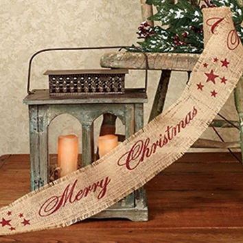 Vintage Merry Christmas Star Burlap Ribbon - 10-ft (Burgundy Print)