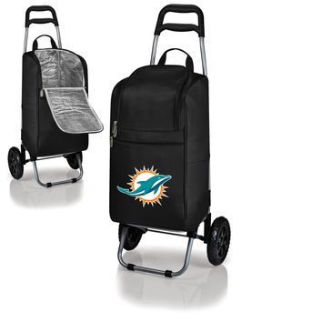 Miami Dolphins Cart Cooler with Trolley-Black Digital Print
