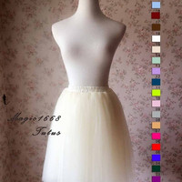 Ivory tulle skirt. Adult Bachelorette Tutu Skirt. Engagement Skirt, Wedding tutus. customized Tutu Skirt. Ivory Skirt. Party Skirt(T1827)
