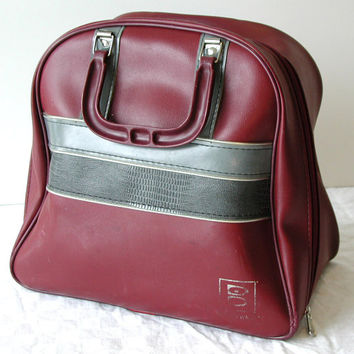 Merlot Brunswick Bowling Bag with Rack - Red & Gray Vintage Tote