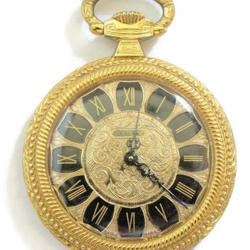Chandler Woman's Pendant Watch, Woman's Mini Pocket Watch, In Gold, Swiss Made 17 Jewels