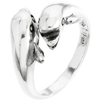 Dolphins Nose To Nose Sterling Silver Ring