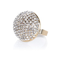 River Island Womens Gold tone encrusted dome ring
