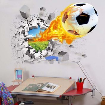 3D Soccer Balls Basketball Wall Stickers Home Decor Football Window Glass Decal Removable Plastic Poster Children Room
