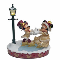 Disney Medium Figure Statue Victorian Mickey & Minnie Skating Figurine New With Box