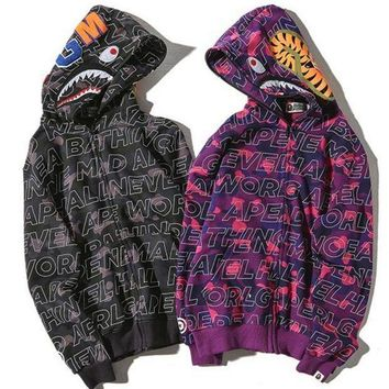 ONETOW Bape Aape Shark Hoodies Zippers Hats Couple Casual Jacket