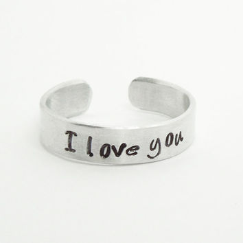Hand-stamped I love you ring - Aluminum silver tone ring - Relationship ring Promise ring Commitment ring Sweetheart ring